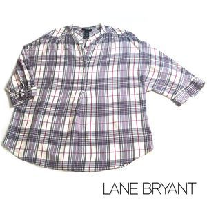 Lane Bryant Flannel Plaid Top w Dolman Sleeves